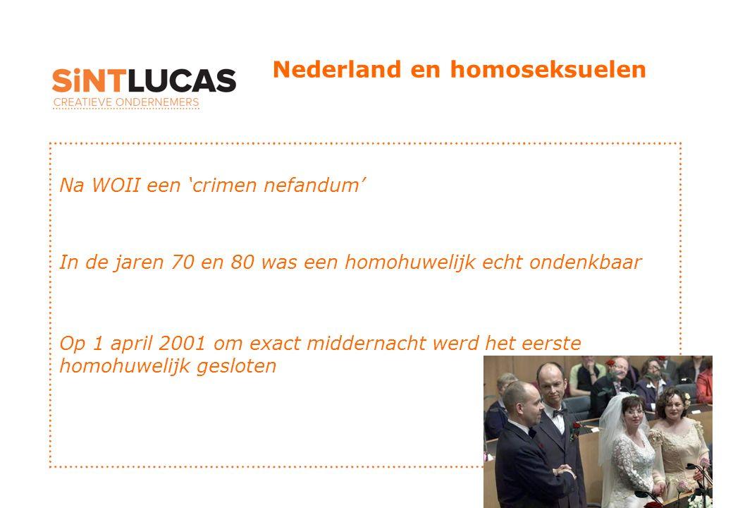 Nederland en homoseksuelen Na WOII een 'crimen nefandum' In de jaren 70 en 80 was een homohuwelijk echt ondenkbaar Op 1 april 2001 om exact middernacht werd het eerste homohuwelijk gesloten