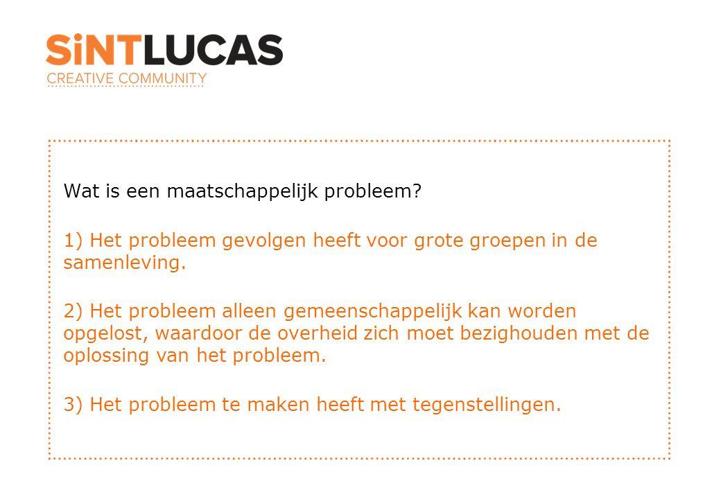 Wat is een maatschappelijk probleem? 1) Het probleem gevolgen heeft voor grote groepen in de samenleving. 2) Het probleem alleen gemeenschappelijk kan