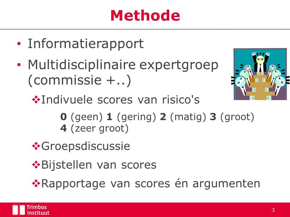 Informatierapport Multidisciplinaire expertgroep (commissie +..)  Indivuele scores van risico's 0 (geen) 1 (gering) 2 (matig) 3 (groot) 4 (zeer groot
