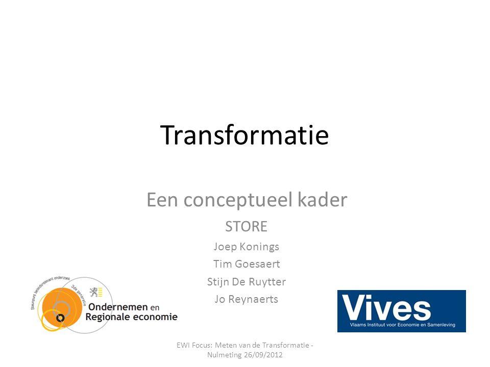 Transformatie Een conceptueel kader STORE Joep Konings Tim Goesaert Stijn De Ruytter Jo Reynaerts EWI Focus: Meten van de Transformatie - Nulmeting 26/09/2012