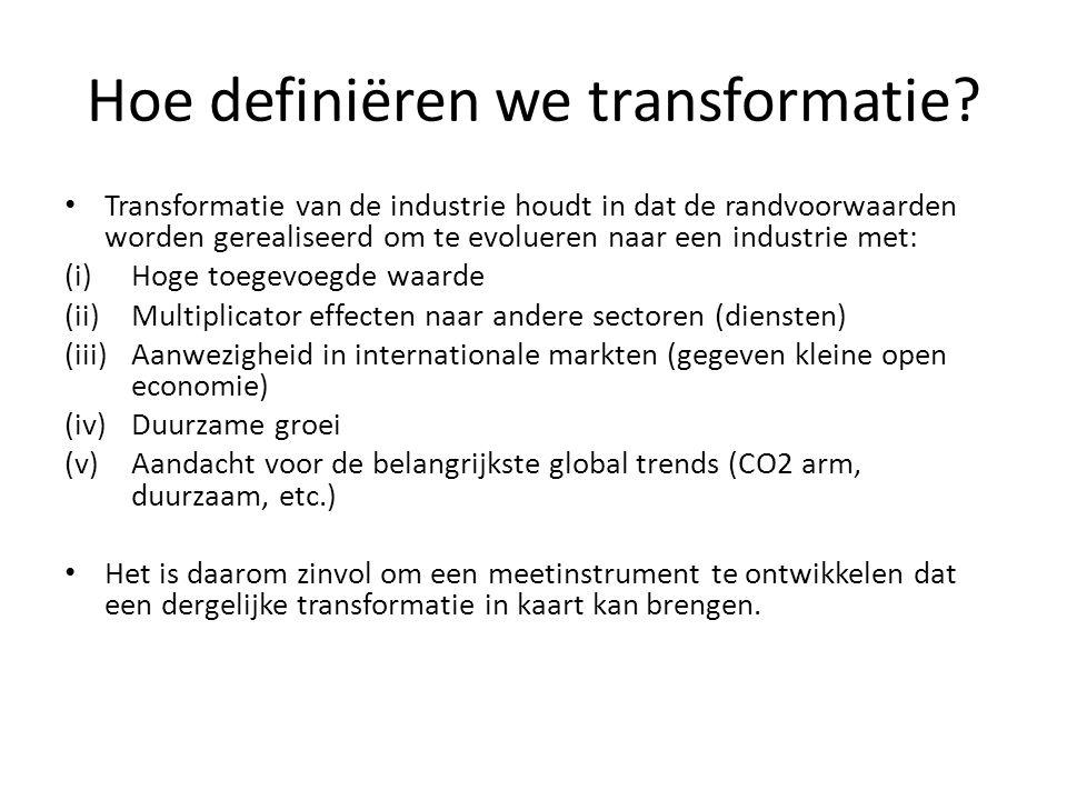 Meetinstrument voor de transformatie van de industrie Twee factoren lijken belangrijk om in rekening te nemen wanneer een meetinstrument ontwikkeld wordt voor transformatie: (i)In welke segmenten scoort de Vlaamse industrie goed in de globale economie.