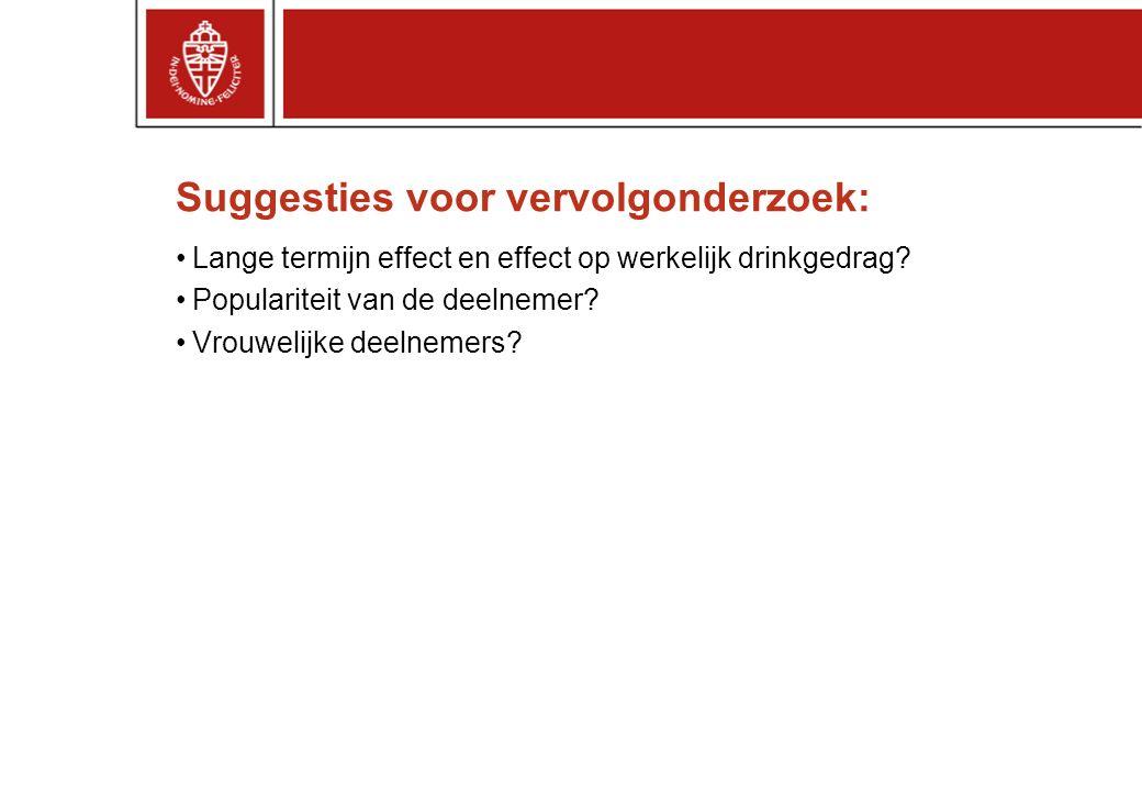 Suggesties voor vervolgonderzoek: Lange termijn effect en effect op werkelijk drinkgedrag.