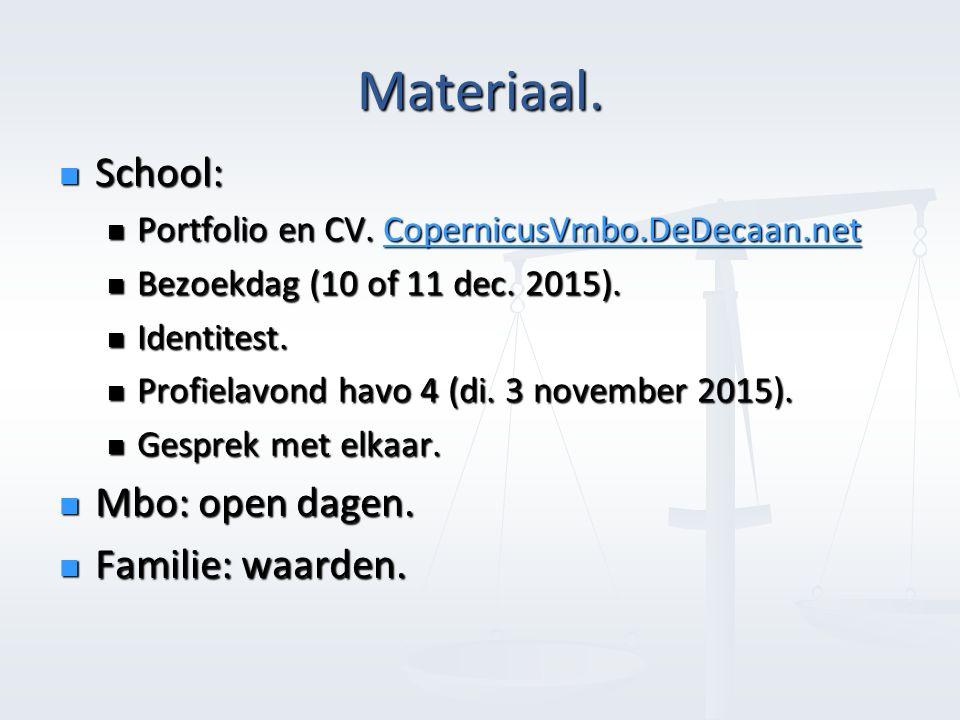 Materiaal. School: School: Portfolio en CV. CopernicusVmbo.DeDecaan.net Portfolio en CV.