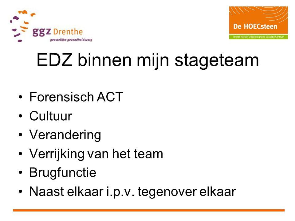 EDZ binnen mijn stageteam Forensisch ACT Cultuur Verandering Verrijking van het team Brugfunctie Naast elkaar i.p.v.