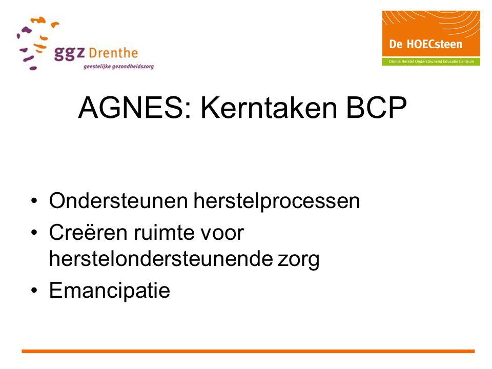 AGNES: Kerntaken BCP Ondersteunen herstelprocessen Creëren ruimte voor herstelondersteunende zorg Emancipatie