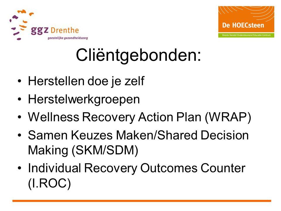 Cliëntgebonden: Herstellen doe je zelf Herstelwerkgroepen Wellness Recovery Action Plan (WRAP) Samen Keuzes Maken/Shared Decision Making (SKM/SDM) Individual Recovery Outcomes Counter (I.ROC)