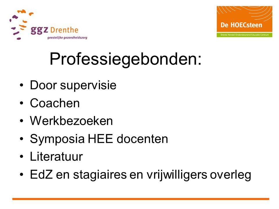 Professiegebonden: Door supervisie Coachen Werkbezoeken Symposia HEE docenten Literatuur EdZ en stagiaires en vrijwilligers overleg