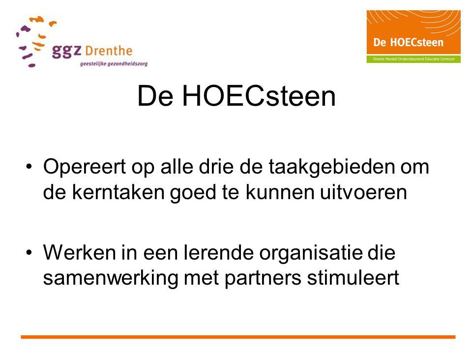 De HOECsteen Opereert op alle drie de taakgebieden om de kerntaken goed te kunnen uitvoeren Werken in een lerende organisatie die samenwerking met partners stimuleert