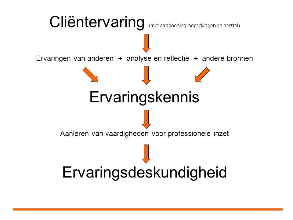 Cliëntervaring (met aandoening, beperkingen en herstel) Ervaringen van anderen + analyse en reflectie + andere bronnen Ervaringskennis Aanleren van vaardigheden voor professionele inzet Ervaringsdeskundigheid