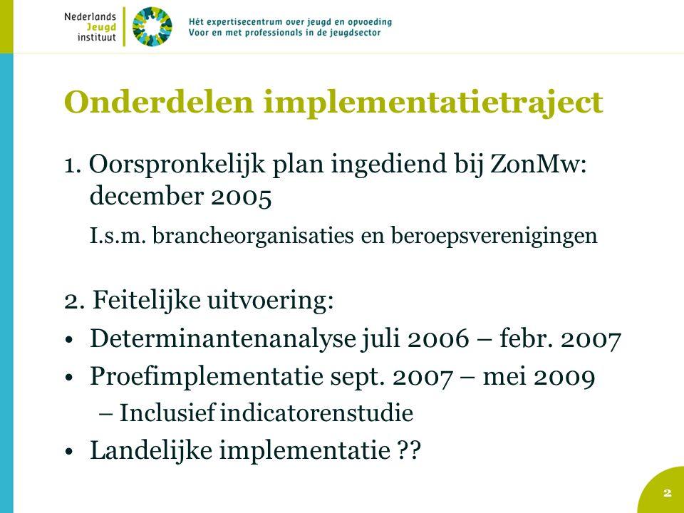 2 Onderdelen implementatietraject 1. Oorspronkelijk plan ingediend bij ZonMw: december 2005 I.s.m.