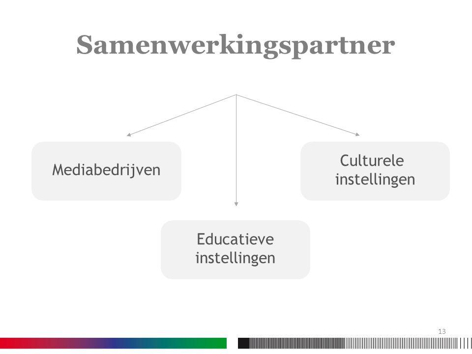 Samenwerkingspartner Mediabedrijven Culturele instellingen Educatieve instellingen 13