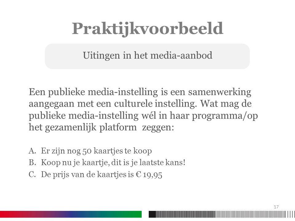 Praktijkvoorbeeld Een publieke media-instelling is een samenwerking aangegaan met een culturele instelling.