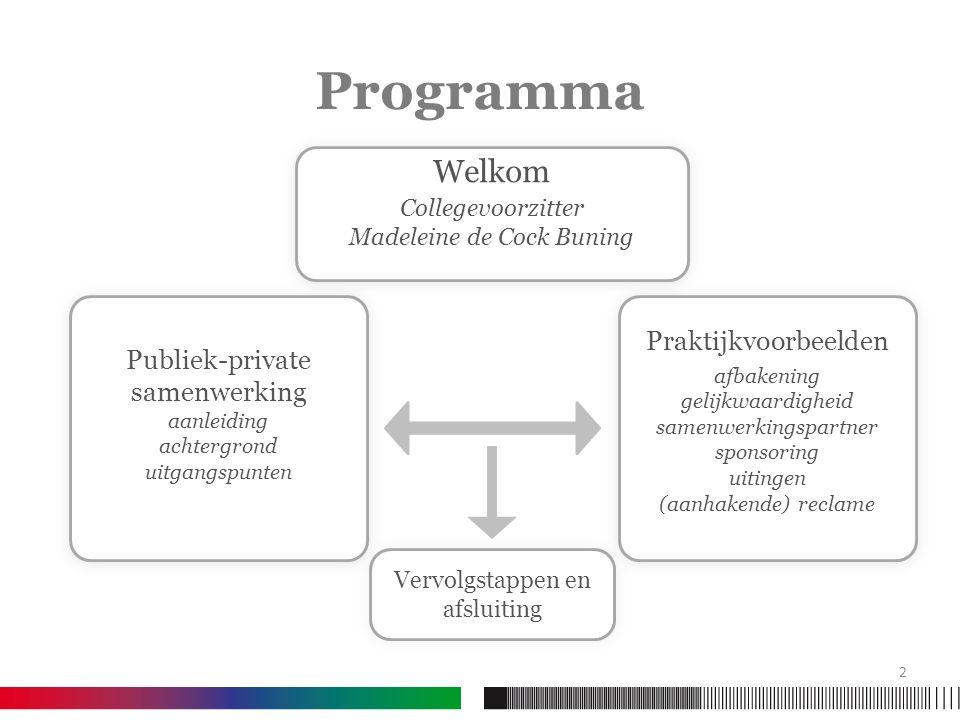 Programma Publiek-private samenwerking aanleiding achtergrond uitgangspunten Publiek-private samenwerking aanleiding achtergrond uitgangspunten Prakti