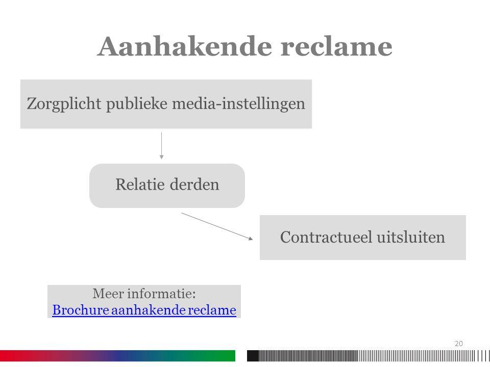 Aanhakende reclame Zorgplicht publieke media-instellingen Relatie derden Contractueel uitsluiten 20 Meer informatie: Brochure aanhakende reclame