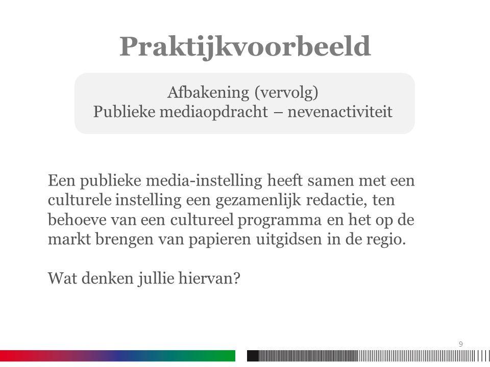 Praktijkvoorbeeld Een publieke media-instelling heeft samen met een culturele instelling een gezamenlijk redactie, ten behoeve van een cultureel programma en het op de markt brengen van papieren uitgidsen in de regio.