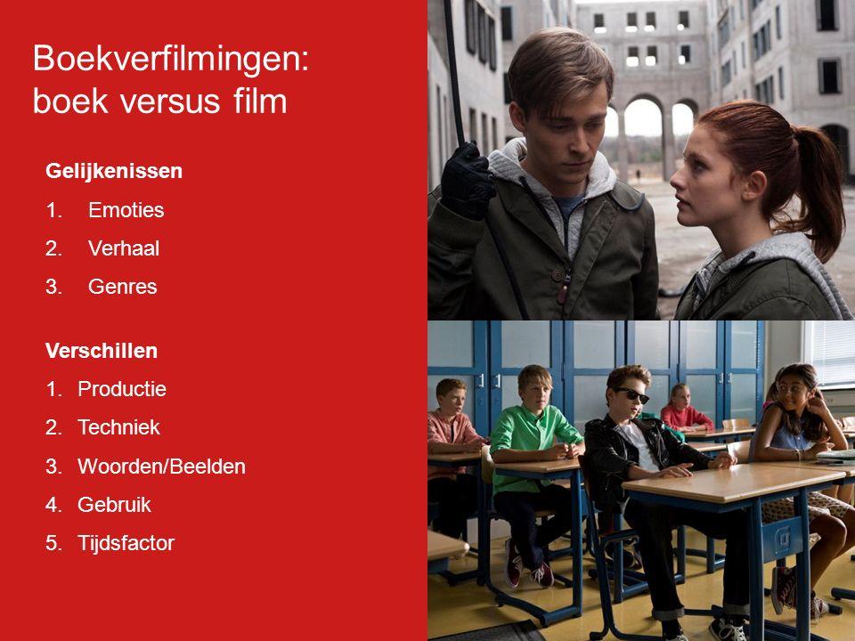 Gelijkenissen 1.Emoties 2.Verhaal 3.Genres Verschillen 1.Productie 2.Techniek 3.Woorden/Beelden 4.Gebruik 5.Tijdsfactor Boekverfilmingen: boek versus film