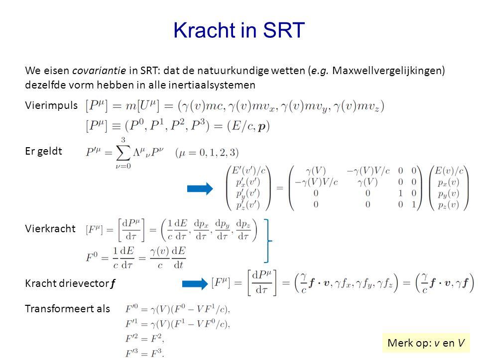 Vierkracht Kracht in SRT We eisen covariantie in SRT: dat de natuurkundige wetten (e.g. Maxwellvergelijkingen) dezelfde vorm hebben in alle inertiaals