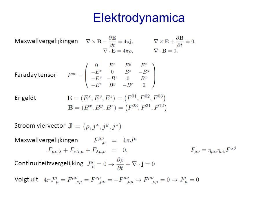 Stroom viervector Elektrodynamica Maxwellvergelijkingen Faraday tensor Er geldt Continuiteitsvergelijking Maxwellvergelijkingen Volgt uit