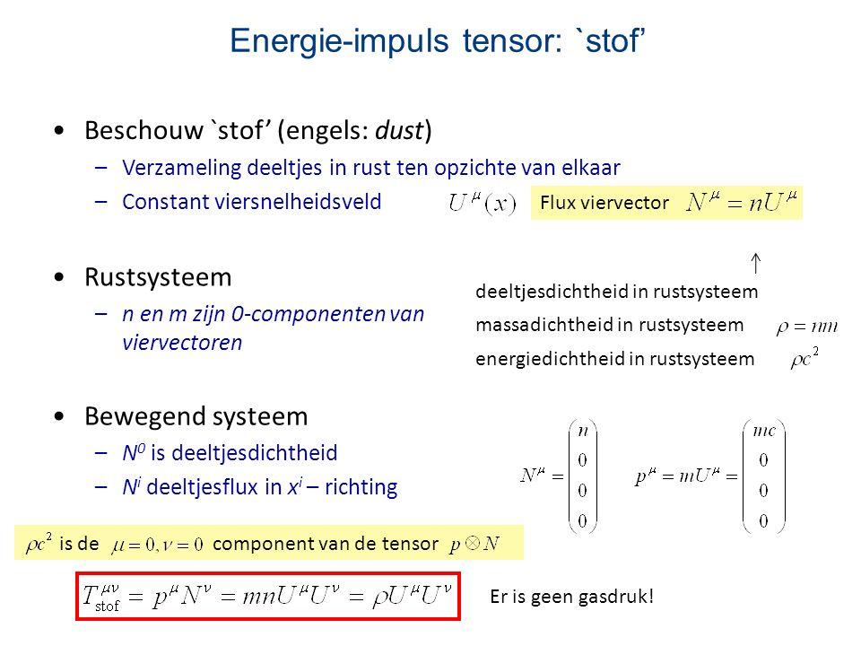 Energie-impuls tensor: `stof' Beschouw `stof' (engels: dust) –Verzameling deeltjes in rust ten opzichte van elkaar –Constant viersnelheidsveld Flux vi