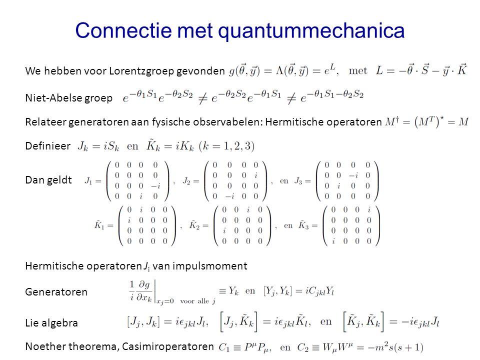Hermitische operatoren J i van impulsmoment Connectie met quantummechanica We hebben voor Lorentzgroep gevonden Niet-Abelse groep Relateer generatoren