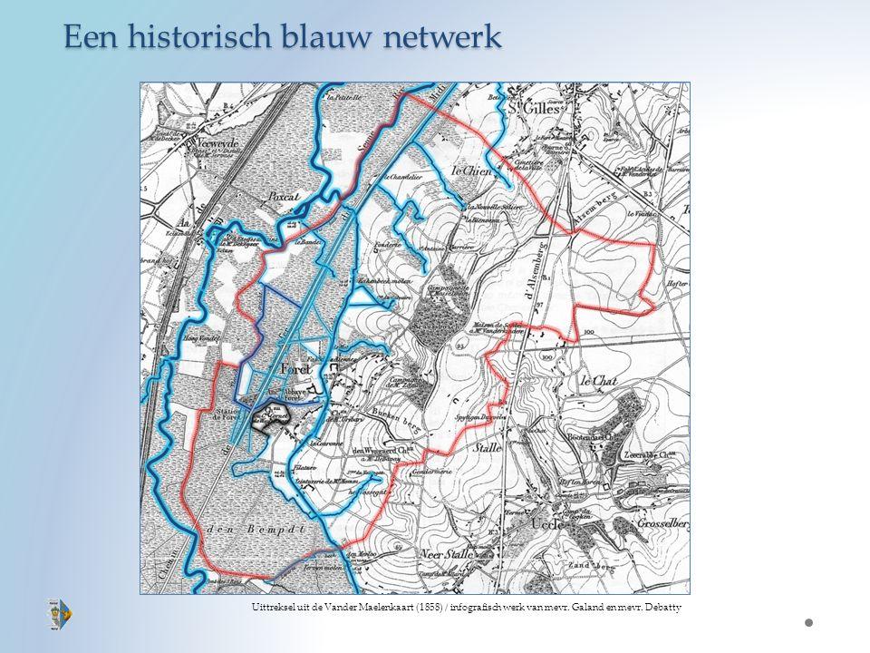 Een historisch blauw netwerk Uittreksel uit de Vander Maelenkaart (1858) / infografisch werk van mevr.