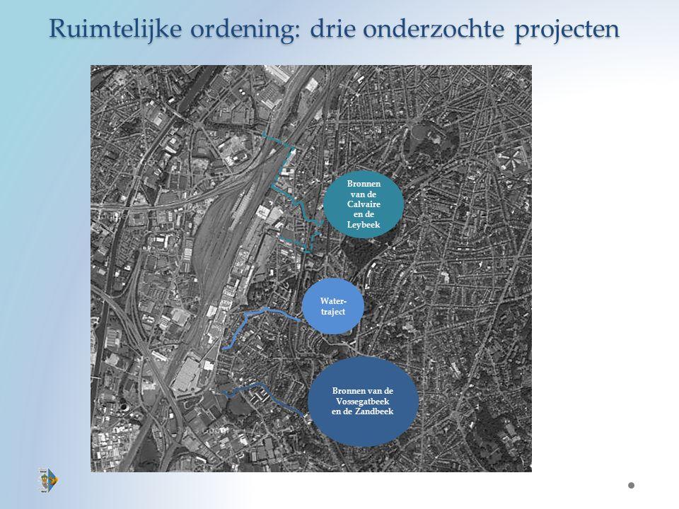 Bronnen van de Calvaire en de Leybeek Water- traject Bronnen van de Vossegatbeek en de Zandbeek Ruimtelijke ordening: drie onderzochte projecten