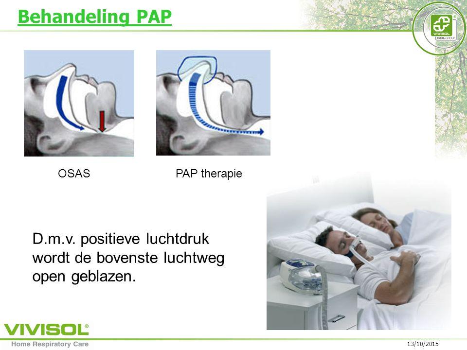 13/10/2015 OSASPAP therapie Behandeling PAP D.m.v.