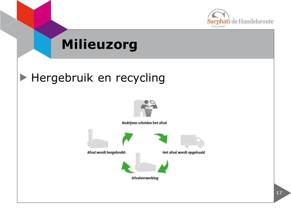 Hergebruik en recycling 17 Milieuzorg
