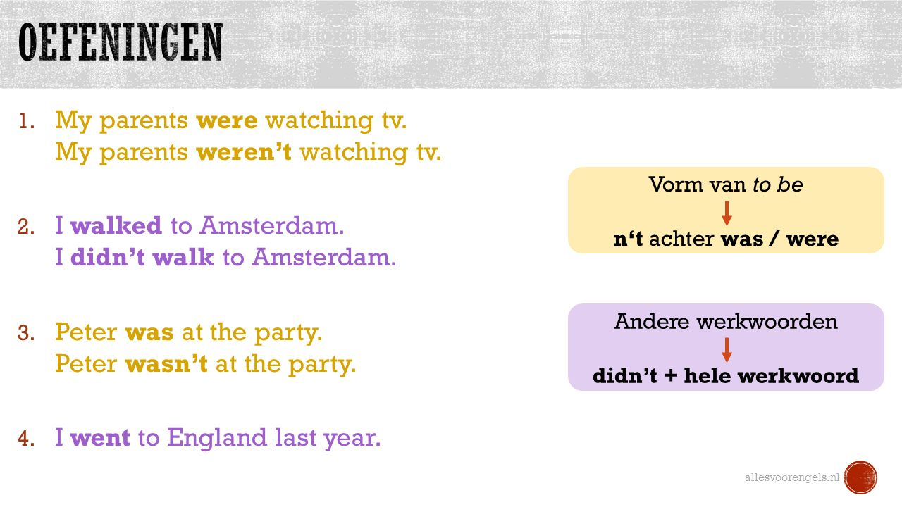 1. My parents were watching tv. My parents weren't watching tv. 2. I walked to Amsterdam. I didn't walk to Amsterdam. 3. Peter was at the party. Peter