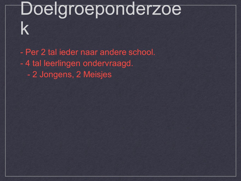 Doelgroeponderzoe k - Per 2 tal ieder naar andere school.