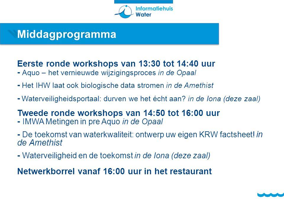 Middagprogramma Eerste ronde workshops van 13:30 tot 14:40 uur - Aquo – het vernieuwde wijzigingsproces in de Opaal - Het IHW laat ook biologische data stromen in de Amethist - Waterveiligheidsportaal: durven we het écht aan.