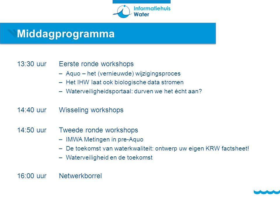 Middagprogramma 13:30 uurEerste ronde workshops –Aquo – het (vernieuwde) wijzigingsproces –Het IHW laat ook biologische data stromen –Waterveiligheidsportaal: durven we het écht aan.
