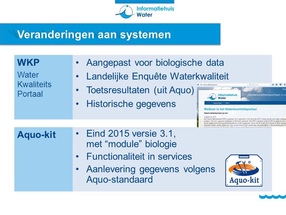 Veranderingen aan systemen WKP Water Kwaliteits Portaal Aangepast voor biologische data Landelijke Enquête Waterkwaliteit Toetsresultaten (uit Aquo) H