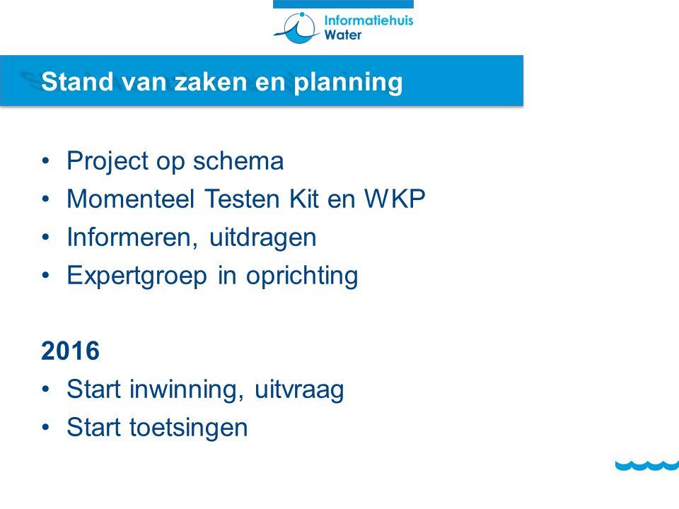 Stand van zaken en planning Project op schema Momenteel Testen Kit en WKP Informeren, uitdragen Expertgroep in oprichting 2016 Start inwinning, uitvra