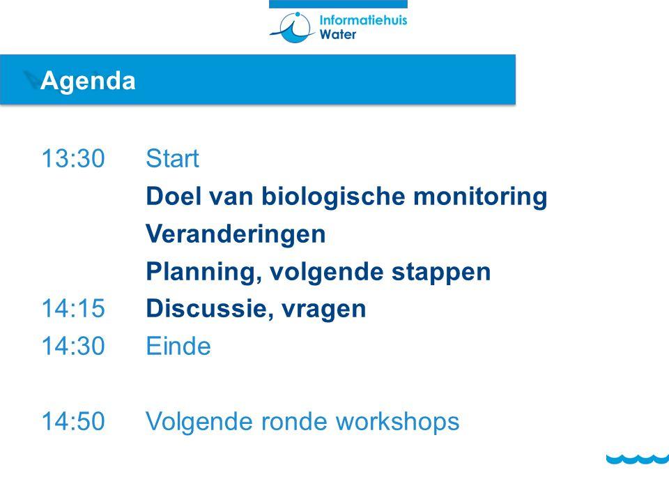 Agenda 13:30Start Doel van biologische monitoring Veranderingen Planning, volgende stappen 14:15Discussie, vragen 14:30Einde 14:50Volgende ronde works