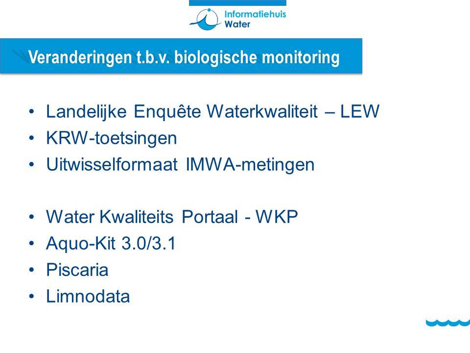 Veranderingen t.b.v. biologische monitoring Landelijke Enquête Waterkwaliteit – LEW KRW-toetsingen Uitwisselformaat IMWA-metingen Water Kwaliteits Por
