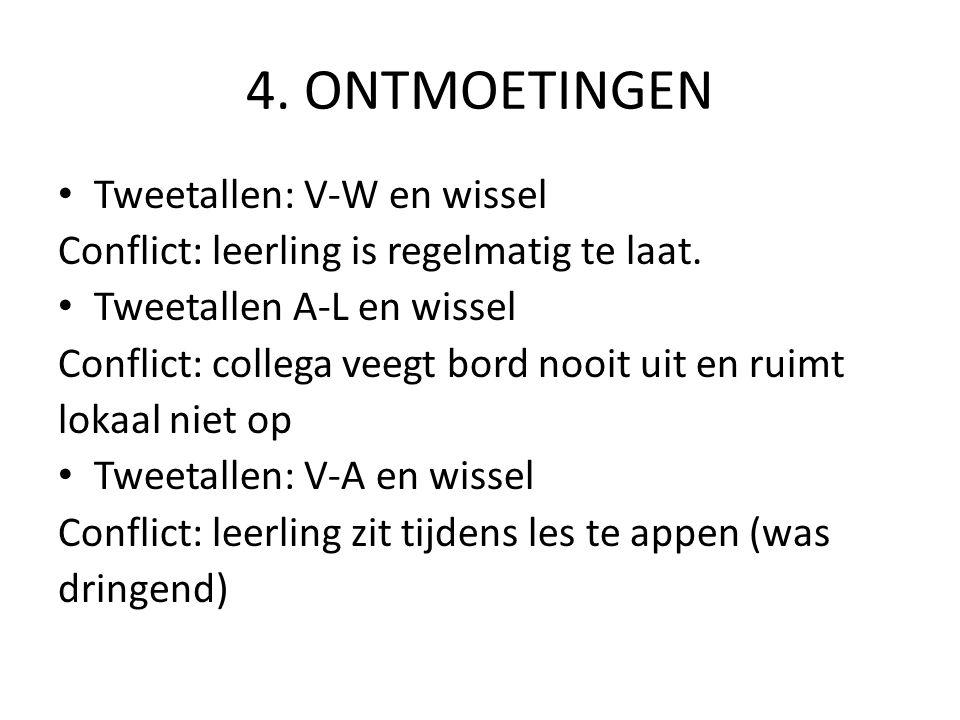 4. ONTMOETINGEN Tweetallen: V-W en wissel Conflict: leerling is regelmatig te laat. Tweetallen A-L en wissel Conflict: collega veegt bord nooit uit en