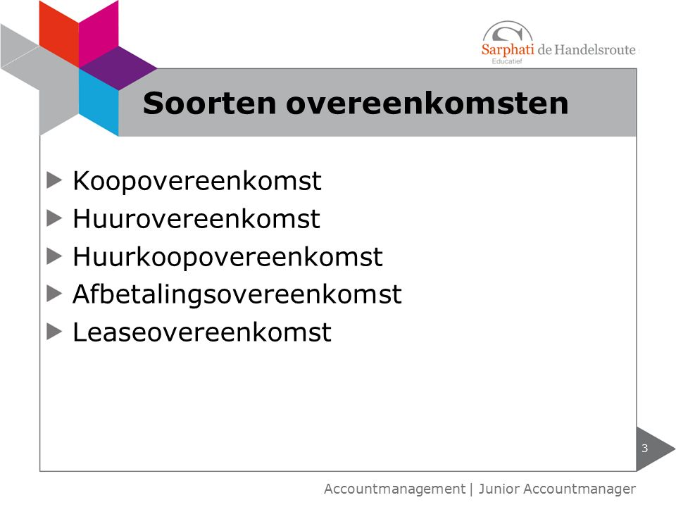 Koopovereenkomst Huurovereenkomst Huurkoopovereenkomst Afbetalingsovereenkomst Leaseovereenkomst 3 Accountmanagement | Junior Accountmanager Soorten overeenkomsten