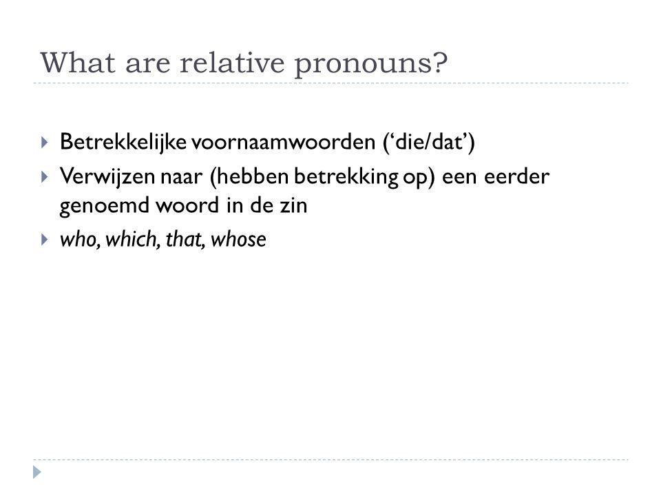 What are relative pronouns?  Betrekkelijke voornaamwoorden ('die/dat')  Verwijzen naar (hebben betrekking op) een eerder genoemd woord in de zin  w