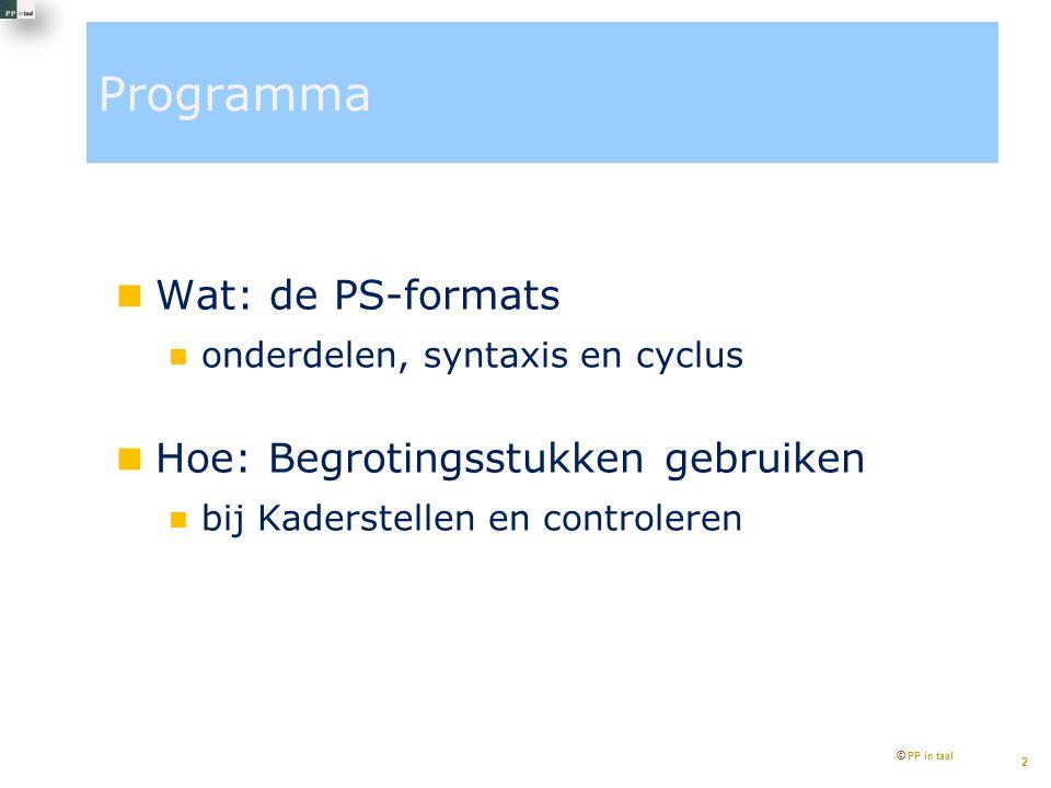 Programma Wat: de PS-formats onderdelen, syntaxis en cyclus Hoe: Begrotingsstukken gebruiken bij Kaderstellen en controleren © PP in taal 2