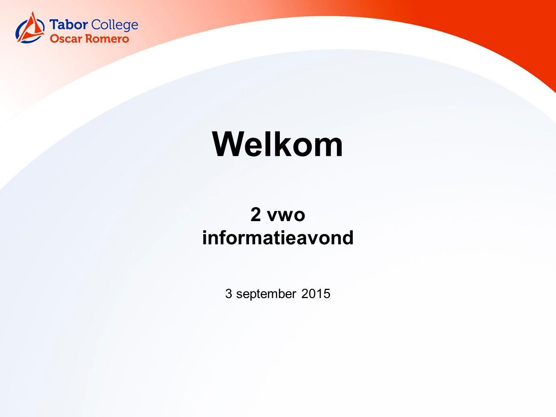2 vwo informatieavond 3 september 2015 Welkom