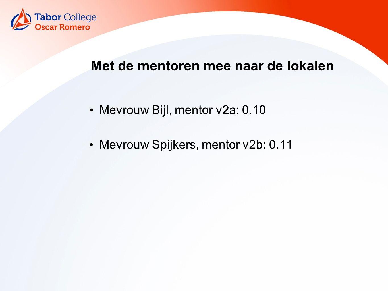 Met de mentoren mee naar de lokalen Mevrouw Bijl, mentor v2a: 0.10 Mevrouw Spijkers, mentor v2b: 0.11