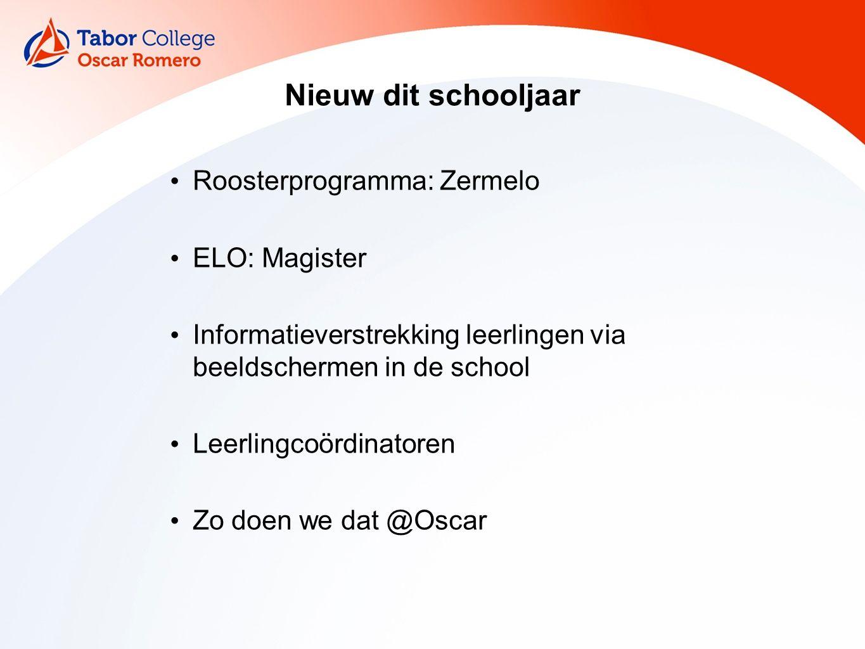 Nieuw dit schooljaar Roosterprogramma: Zermelo ELO: Magister Informatieverstrekking leerlingen via beeldschermen in de school Leerlingcoördinatoren Zo doen we dat @Oscar