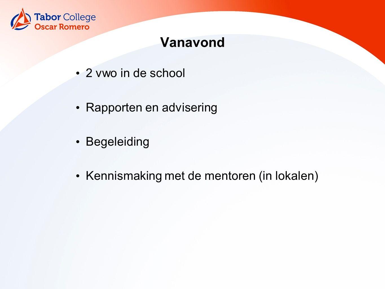 Vanavond 2 vwo in de school Rapporten en advisering Begeleiding Kennismaking met de mentoren (in lokalen)