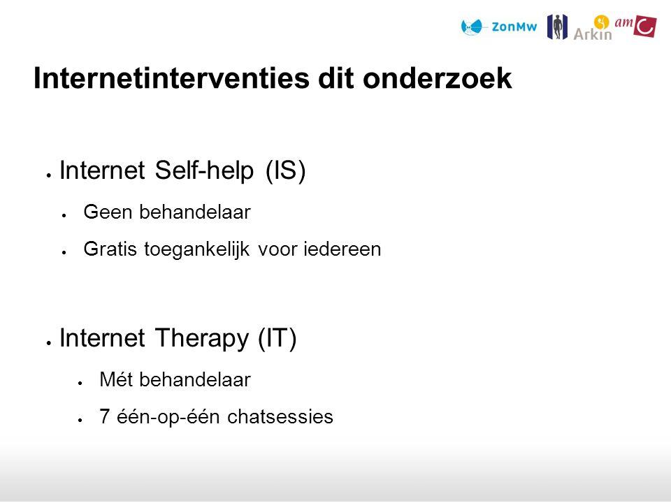 Internet Self-help (IS)  Geen behandelaar  Gratis toegankelijk voor iedereen  Internet Therapy (IT)  Mét behandelaar  7 één-op-één chatsessies