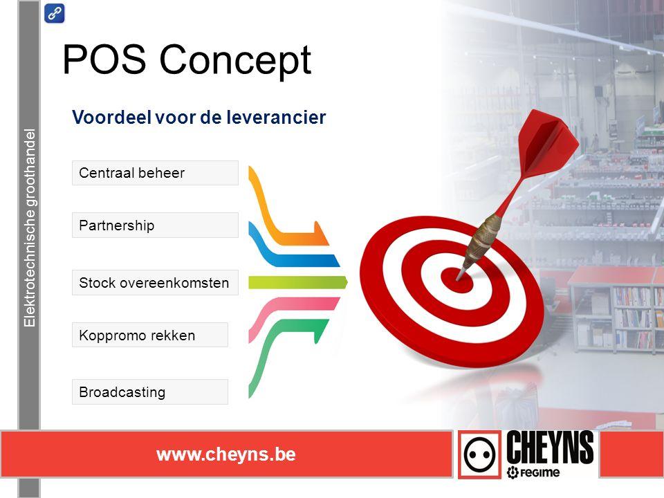 Elektrotechnische groothandel www.cheyns.be Elektrotechnische groothandel www.cheyns.be Voordeel voor de leverancier Centraal beheer Stock overeenkomsten POS Concept Partnership Koppromo rekken Broadcasting
