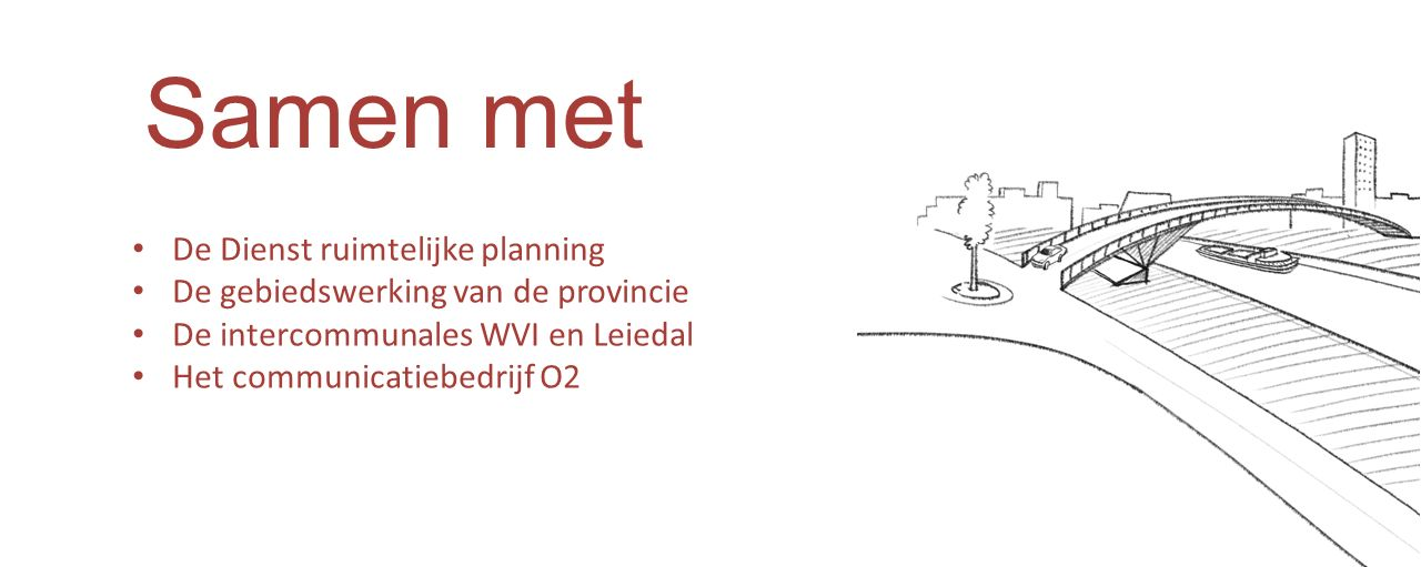 Samen met De Dienst ruimtelijke planning De gebiedswerking van de provincie De intercommunales WVI en Leiedal Het communicatiebedrijf O2