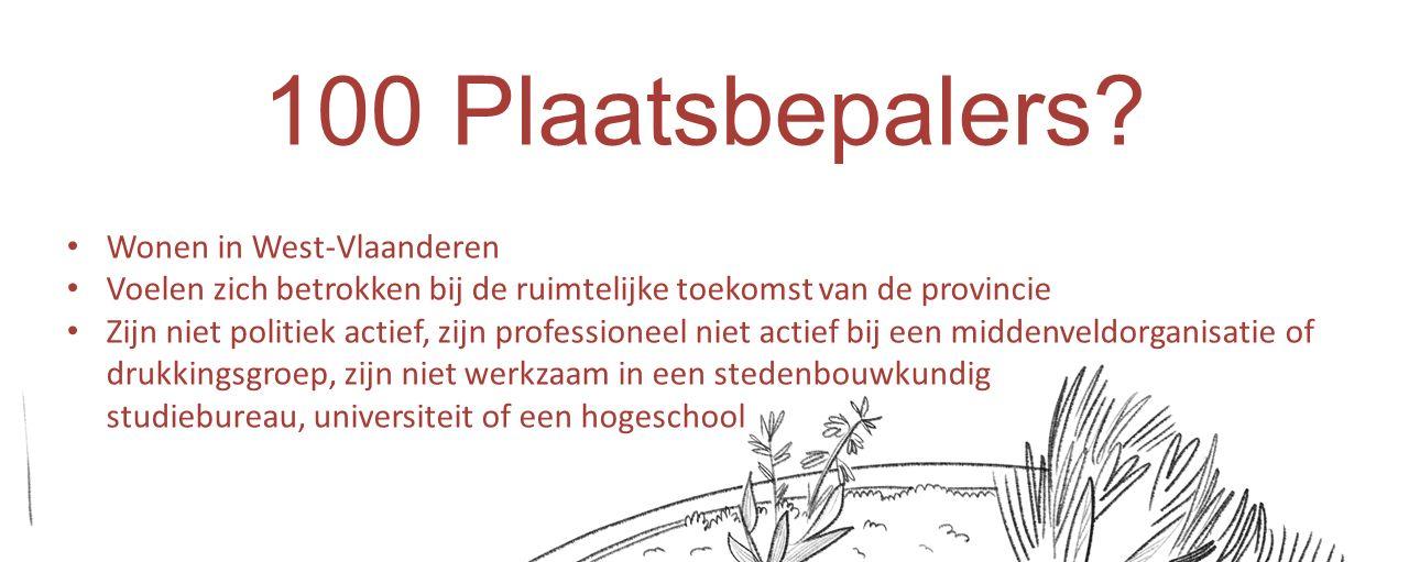 Ook experten Zijn professionals ruimtelijke ordening of zijn met specifieke deelaspecten van ruimtelijke ordening in West-Vlaanderen bezig Zijn professioneel niet actief bij een middenveldorganisatie of drukkingsgroep