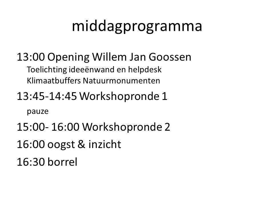 middagprogramma 13:00 Opening Willem Jan Goossen Toelichting ideeënwand en helpdesk Klimaatbuffers Natuurmonumenten 13:45-14:45 Workshopronde 1 pauze 15:00- 16:00 Workshopronde 2 16:00 oogst & inzicht 16:30 borrel