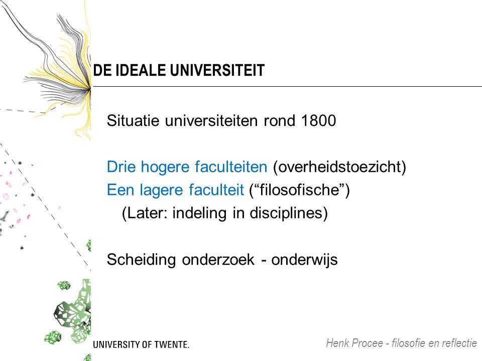 """DE IDEALE UNIVERSITEIT Situatie universiteiten rond 1800 Drie hogere faculteiten (overheidstoezicht) Een lagere faculteit (""""filosofische"""") (Later: ind"""